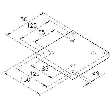 Sockelplatte 8 für Profile mK-2005 / mK-2011