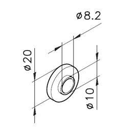 Distanzscheibe AØ=20 / IØ=8, 2 / Bund Ø10