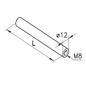 Führungsstange Ø12,2x M8i, L=50