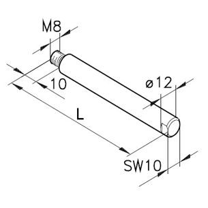 Führungsstange Ø12,1x M8a, L=100
