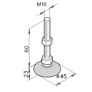 Stellfuß KA M10 - Spindellänge 60mm