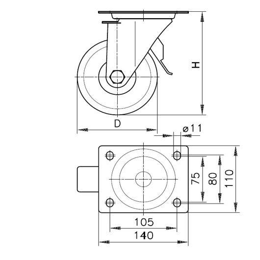 Lenkrolle (ST) LH-SPO 125K 3ST