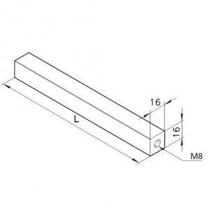 Achse 16x16, L=200mm