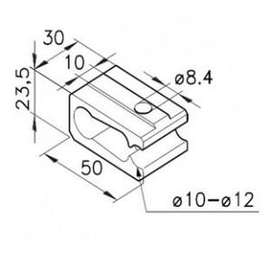 Klemme für Rundstangen Nutbreite 10mm
