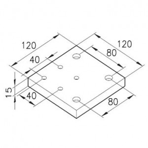 Sockelplatte 40/1 für Profil 80x80mm