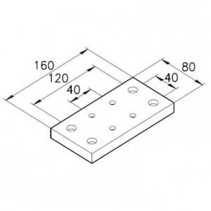 Sockelplatte 40/2 für Profil 80x80mm