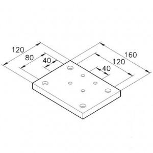 Sockelplatte 40/4 für Profil 80x80mm