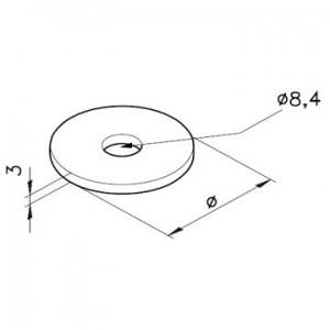 Scheibe A=Ø30, I=Ø8, 4, 3mm dick