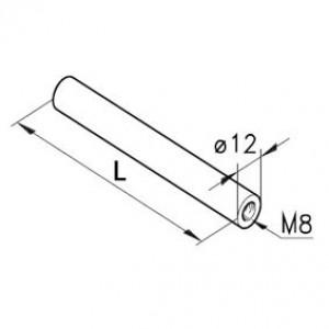 Stange Ø12, 1x M8i, L=75mm