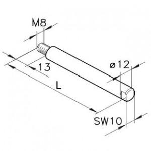 Führungsstange Ø12,1x M8a, L=50