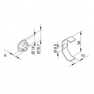 Spannverbinder Serie 40 Reinraum, Abdeckkappe silber