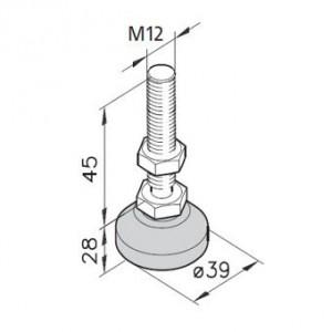 Stellfuß M12 - Spindellänge 45mm